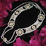 "Signed HOBE~Amazing Detailed Vintage 36"" Rhinestone / Simulated Pearl Belt"
