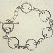Sterling Silver Oval Double inverted hooks - Bracelet