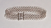 Sterling Silver Chain Maille Textured Link Cuff - Bracelet