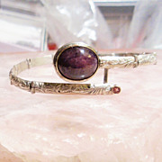 Sterling Silver and 14K Gold Star Ruby and Tourmaline -  Bracelet