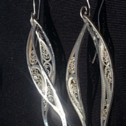 Sterling Silver Filigree Helical Swirl - Earrings