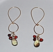 14K GF Citrine and Hessonite garnet Figure-8-hoop - Earrings