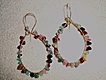 14K Gold-Filled Tourmaline Nugget Hoops - Earrings