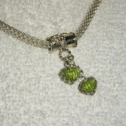 Sterling Silver Carved Peridot Pendant - Necklace