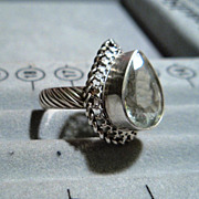Sterling Silver Prasiolite (Green Amethyst) Pear  - Ring