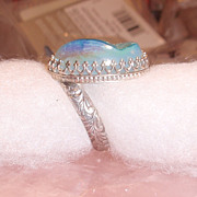 Sterling Silver Druzy Quartz Aqua - Ring