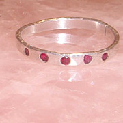 Sterling Silver Hammered Ruby Gypsy - Ring
