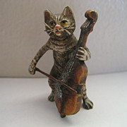 Vienna Bronze Cat Playing Cello