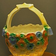 Charming Hand Painted Czecho-Slovakia Pottery Small Basket