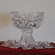 Large American Brilliant Cut Glass Punch Bowl with Matching Pedestal and 7 Punch Cups