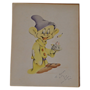 Hand Painted Vintage Portrait of Disney�s �Dopey� signed by Artist.