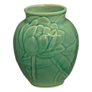 Turquoise Rookwood Vase with Lotus Blossoms # 6833 Dated 1948