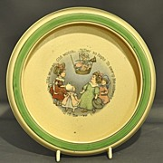 Roseville Creamware Juvenile Children�s Rolled Edge Plate with �Old Woman� Nursery Rhyme