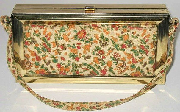 1950s Vintage Lovely Box Purse with Floral Fabric Panels
