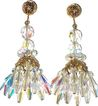 1960s Vintage Aurora Crystal Filigree Chandelier Earrings