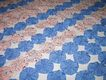 Sweet Vintage Blue & Floral Print Yo Yo Quilt/Coverlet