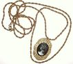 1960s Vintage Lovely Cameo Filigree Pendant with Rope Chain