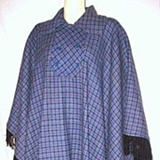 1970s Vintage Rheingantz Plaid Pure Virgin Wool Fringed Cape/Poncho Style Coat Sizes M to XL