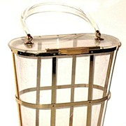 1950s Vintage Majestic Clear Lucite Tall Box Purse