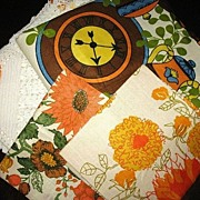 Retro 60s Tablecloth & Vera Hand Towels Linens Lot