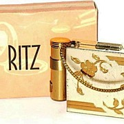 SOLD Vintage Compact 1950s Ritz 3 in 1 Purse Style with Cigarette Box & Lipstick in Original B