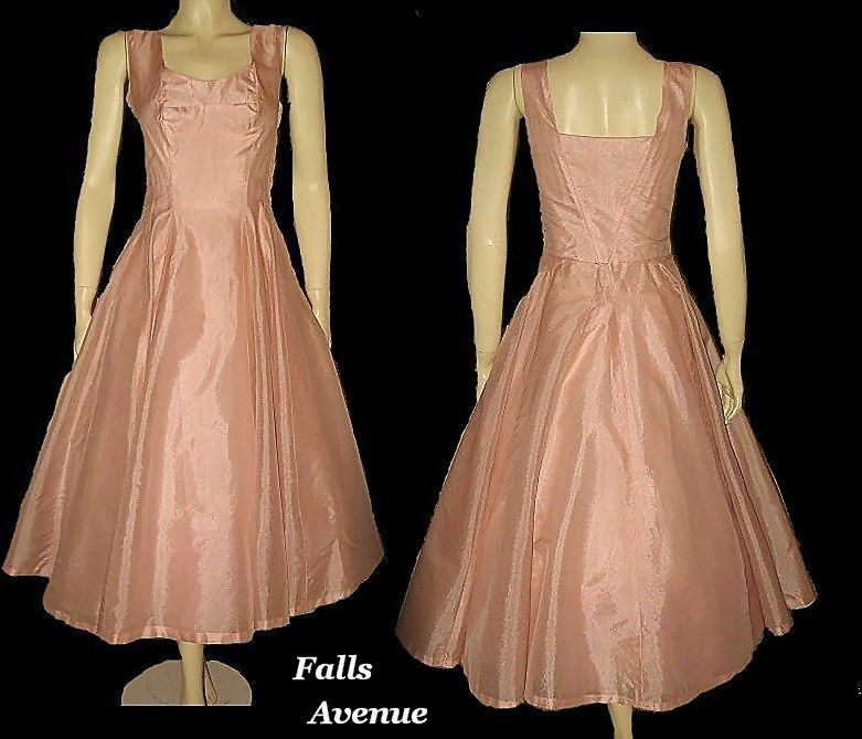 1950s Vintage Dress Coral Pink Organza Size XS