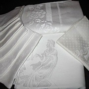 Vintage Damask Linens Lot Tablecloths & Napkins