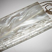 SOLD 1950s Large Pearlized White Lucite Envelope Clutch Purse or Shoulder Bag