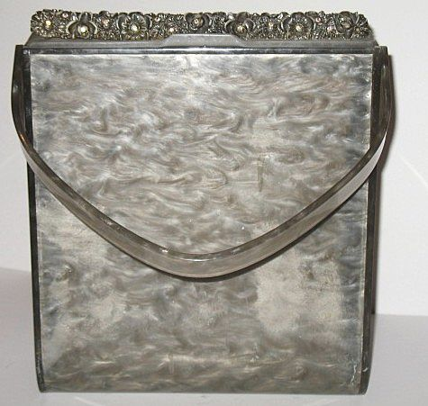 Vintage Lucite Purse Tall Marbled Grey with Carved Rim