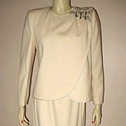 SALE 1980s Vintage Designer Suit Cream Wool Nolan Miller Dynasty Collection Size M