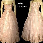 SALE 1950s Elegant Vintage Dress Pale Pink Taffeta Strapless Gown with Matching Bolero Jacket
