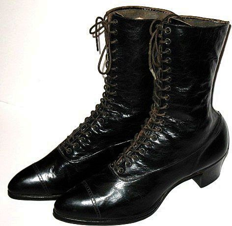 Victorian Black Leather Boots Lady Belle Shoe Size 8A