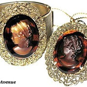 1960s Vintage Jewelry Glass Cameo Hinged Cuff Bracelet & Pendant Necklace