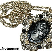 Victorian Jet & Black Glass Cameo & Simulated Pearls Pendant Necklace