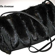 1970s Vintage Purse Black Suede Leather with Mink Tails
