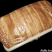 1970s Designer Vintage Purse Adrian Gold Snakeskin Leather Clutch