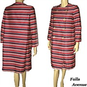 1960s Mod Fashion Don Sophisticates Red White & Blue Striped Coat New Old Stock Size Medium