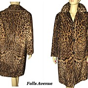1960s Leopard Print Swing Coat Size Medium