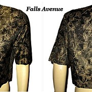 1960s Vintage Blouse Black Satin with Golden Floral Pattern Size M