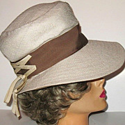 1960s Vintage Hat Wide-Brimmed Vanilla Raw Silk