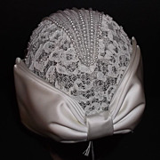 1960s Vintage Bridal Headpiece Hat Ivory Lace Skull Cap with Pearls & Bow New Old Stock