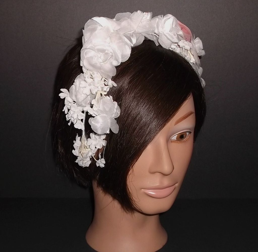 1960s Vintage Bridal Headpiece White Silk Floral Wreath New Old Stock