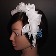 1960s Vintage Bridal Headpiece White Silk & Ribbons Floral Wreath New Old Stock