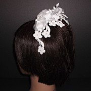 1960s Vintage Bridal Headpiece White Crochet Lace & Silk Floral Cap with Pearls New Old Stock