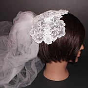 1950s Vintage Bridal Veil & Headpiece White & Blue Crochet Lace New Old Stock