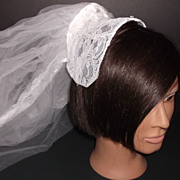 1950s Vintage Bridal Veil & Headpiece White Lace & Pearls New Old Stock