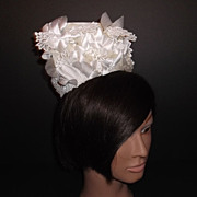 1960s Vintage Bridal Headpiece White Crochet Lace & Silk Flowers Tiara New Old Stock