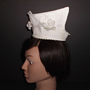 1960s Vintage Bridal Headpiece Ivory Crochet Lace Tiara with AB Stones New Old Stock