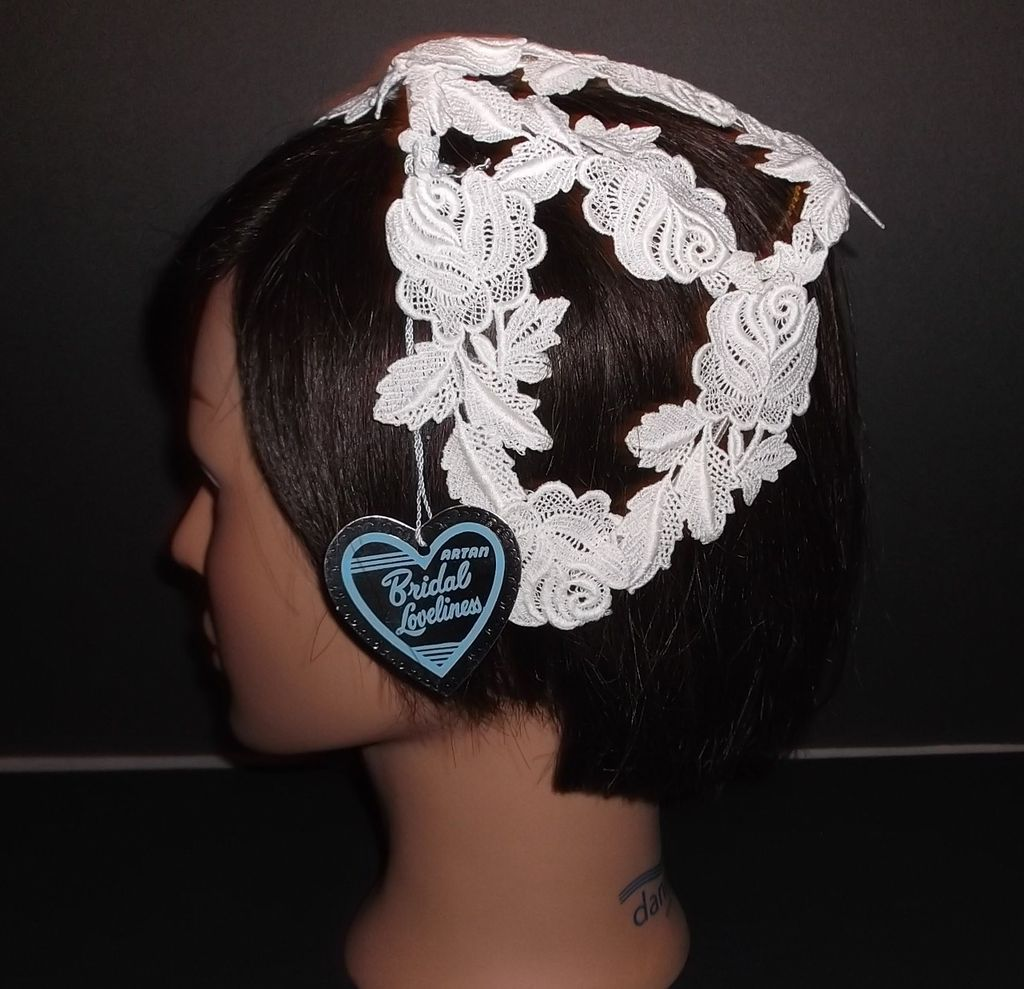 1960s Vintage Bridal Headpiece Off White Crochet Lace Juliet Cap New Old Stock