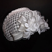 1960s Vintage Bridal Headpiece White Silk Floral Juliet Cap with Pearls New Old Stock
